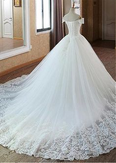Buy discount Glamorous Tulle Off-the-shoulder Neckline Ball Gown Wedding Dress W. Buy discount Glamorous Tulle Off-the-shoulder Neckline Ball Gown Wedding Dress With Beadings & Lace Appliques at Ail Wedding Dress Tea Length, Top Wedding Dresses, Wedding Dress Trends, Princess Wedding Dresses, Perfect Wedding Dress, Tulle Wedding, Bridal Dresses, Gown Wedding, Mermaid Wedding