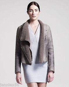 $1,850 HELMUT LANG Weathered Shearling Fur LEATHER  Jacket Coat, size P, XS, 0