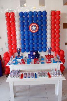 Fiesta de niño con tema de capitan america Captain America Party, Captain America Birthday, Avengers Birthday, Superhero Birthday Party, Birthday Party Decorations, Gisele, Ideas Para, Memes, Captain America Birthday Cake