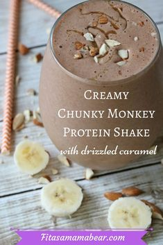 Chocolate banana chunky monkey protein shake makes a tasty snack or post workout shake. It tastes like dessert and is a quick recipe for busy moms Protein Smoothie Recipes, Healthy Smoothies, Healthy Drinks, Nutrition Drinks, Banana Protein Smoothie, Healthy Food, Healthy Shakes, Strawberry Smoothie, Recipes