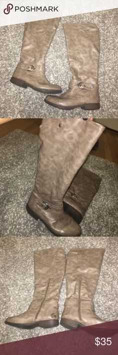 Taupe boots size 7 Taupe colored womens boots.. lightly worn with a few scuff marks. Perfect for spring and fall! Super comfy! Size 7. Shoes Winter & Rain Boots