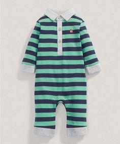 Boys Green Striped Long Sleeved Romper - Baby Basics & Multipacks - Mamas & Papas