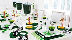 We Are In Love With Every Detail On These Golf Party Tables. From Mini Golf Carts To Dessert Bars Over Flowing With Grassy Goodness There Are Tons Of Ideas.