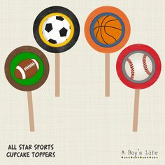 """INSTANT DOWNLOAD All Star Sports Cupcake Toppers Party Circles 2""""  PDF by aboyslife on Etsy"""
