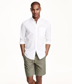 Checked shirt in a linen and cotton blend with a button-down collar and one breast pocket. Regular fit.