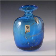 Mdina Maltese Blue & Yellow Glass Vase - Signed & Label - £20.00