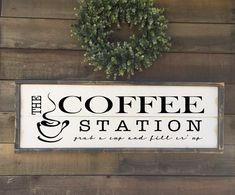 Excited to share this item from my shop: Coffee sign, the coffee station, framed shiplap kitchen sign Shiplap Wood, Wood Planks, Lake House Signs, Wood Wedding Signs, Rustic Chair, Grey Stain, Coffee Signs, Table Signs, Kitchen Signs