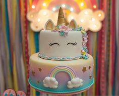 Magical Unicorn Kg, Our adorable and highly requested Unicorn cake.This cake is perfect for celebrating birthdays,baby showers or just because!Made of fondant in whole gives you choi Unicorne Cake, Cupcake Cakes, Bolo Fake Minnie, Unicorn Themed Birthday, Cake Birthday, Bday Girl, Savoury Cake, Cute Cakes, 1st Birthday Parties