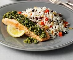 Salmon with salsa verde. A delicious and fresh Mediterranean baked fish dish with herby green sauce, olives and lemon Salmon Recipes, Fish Recipes, Seafood Recipes, Recipes Dinner, Bbc Good Food Recipes, Healthy Recipes, Healthy Food, Cooking Recipes, Salmon And Broccoli