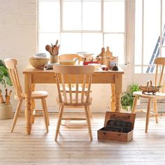 Dorchester Pine 122cm Table and 4 Chairs (M372) with Free Delivery | The Cotswold Company. Country Furniture, Country Home, Country Style, Pine Furniture, Dining Set, Dining Table, Country Table, Baking.