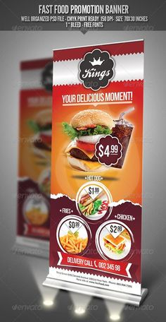 Fast Food Promotion Banner by punedesign FeaturesFully Editable Fully Layered PSD File Free Fonts Used / Bebas Neue/ Aller / Ballpark / Size: 7030 inches PSD 150 dpi, CMYK Food Graphic Design, Food Menu Design, Food Poster Design, Rollup Design, Rollup Banner Design, Carta Restaurant, Restaurant Flyer, Standing Banner Design, Standee Design