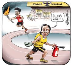 The new Public Protector prepares to take the torch from Thuli in Brandan's cartoon