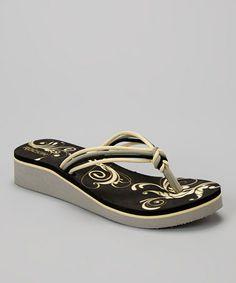 Look at this #zulilyfind! Black Ribbon Wedge Flip-Flop - Women by Rockin Footwear #zulilyfinds