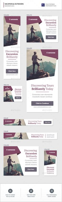Buy Vacation & Outdoors Banners by InfiniWeb on GraphicRiver. Vacation / Outdoors / Tourism Banner Ads Web banner ad templates in 8 most popular sizes! Web Banner Design, Layout Design, Banner Design Inspiration, Ad Design, Display Banners, Display Ads, Digital Banner, Digital Signage, Logos Retro
