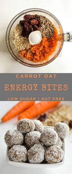 Carrot oat energy bites, healthy no bake nut free energy ball for kids. no coconut for me, otherwise yes! Carrot oat energy bites, healthy no bake nut free energy ball for kids. no coconut for me, otherwise yes! Healthy Baking, Healthy Kids, Healthy Snacks, Healthy Recipes, Baby Food Recipes, Dessert Recipes, Desserts, Healthy Christmas Recipes, Energy Bites
