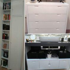 Muebles a medida #armario más #librero,  mueble auxiliar para el cuarto de baño y #cómoda #lacados en blanco