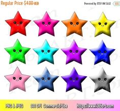 50% OFF Kawaii Star Clipart, Star Clip art, Clipart Stars, Scrapbooking, Party Invitations, Star Graphics, PNG JPEG, Download, Commercial by I365art