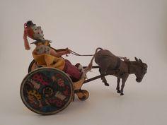 Antique Germany Lehmann Balky Mule Clown Cart Tin Wind Up Toy  #Lehmann