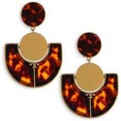 Tory Burch Art Deco Statement Earrings (2.640.725 IDR) ❤ liked on Polyvore featuring jewelry, earrings, resin earrings, artificial jewellery, gold tone earrings, art deco earrings and tory burch earrings