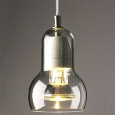 "Bulb pendant light 4"" X 6"" in glass 185"