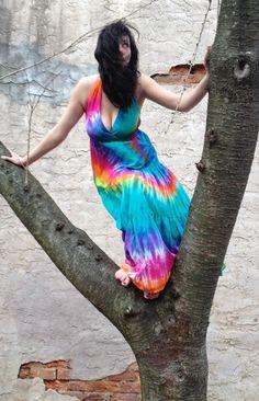 Jewel Tone Maxi Dress, Tie-dye Dress, Bohemian Dress, Hippie Dress on Etsy, $79.00