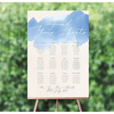 Personalised Pastel Blue and white Watercolour Wedding Table / Seating Plan Wedding Reception Seating, Seating Chart Wedding, Wedding Table Numbers, Seating Charts, Table Wedding, Watercolor Wedding Invitations, Wedding Stationery, Blue Table Settings, Wedding Themes