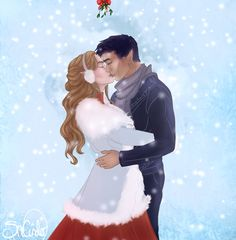 Feyre and Rhys under the mistletoe: art by SnCinder