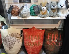 Game of Thrones plushes - Love those little direwolves and I NEED the the stark shield!
