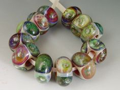 Sale 50% off..The Beads Have Eyes, 12 boro/borosilicate handmade lampwork glass beads, Redside Designs, SRA