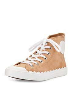 Chloe Scalloped Suede High-Top Sneaker, Reef Shell