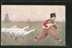 Künstler-AK Brüder Kohn (B.K.W.I) Nr.648-3: Hans mit goldener Gans wird verfolgt…