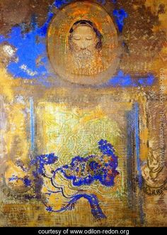Evocation Aka Head Of Christ Or Inspiration From A Mosaic In Revenna - Odilon Redon