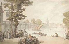 'The Garden of the Swan Inn by Putney Bridge' by Thomas Rowlandson (1756-1827, United Kingdom)