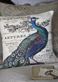 Peacock pillow/ reminds me of growing up on the Island and my grandfather had a peacock on his land.  Memories, he was beautiful!