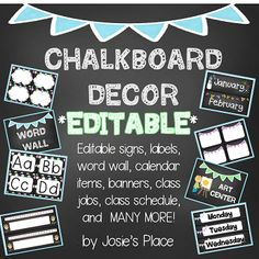 50% for one week- ends 6/20! Chalkboard Décor to set up your whole class! **Editable** Jobs, schedules, signs, labels, center signs, calendar items, and so much more!