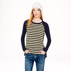 Side-button sweater in stripe | J. Crew