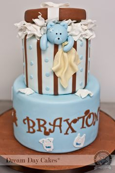baby shower cakes | Teddy Bear Baby Shower Cake, Gainesville | Dream Day Cakes Pretty Cakes, Beautiful Cakes, Amazing Cakes, Gateau Baby Shower, Baby Shower Cakes, Cupcakes, Cupcake Cakes, Macaroons, Cookies Decorados