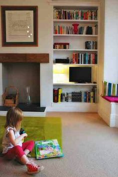 Bookcases Build shelves like these into the nook in our bedroom.Build shelves like these into the nook in our bedroom. Slate Fireplace, Cottage Fireplace, Fireplace Cover, Living Room With Fireplace, Fireplace Ideas, Craftsman Fireplace, Cabin Fireplace, Simple Fireplace, Fireplace Kitchen