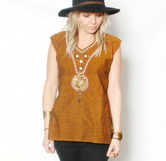 Vintage Ethnic Tunic Top w/ Beaded Front by redpoppyvintageshop, $32.00