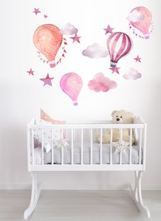 Hot Air Balloon Watercolor Wall Decal Kit Peel and Stick