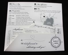 Black & White Lake Tahoe & Mountain Themed Boarding Pass Wedding Invitations