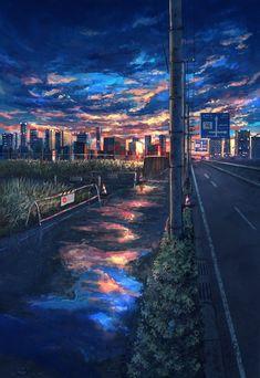 Anime Sky Wallpaper AnimeWallpaper Sunset View Image Kawaii