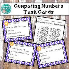Comparing Three Digit Numbers Task Cards Expanded Form, Comparing Numbers, Classroom Hacks, Standard Form, Behavior Management, Task Cards, Second Grade, Teaching Resources, Third