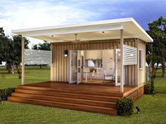 prefab house with wooden porch