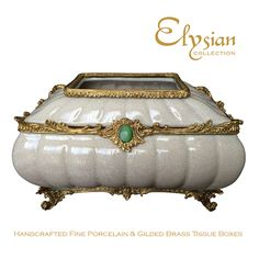 Antique White Crackle Finish Porcelain & Brass Tissue Box with Green Cabochon Centrepiece #elysiancollectiontissuebox www.elysiancollection.com.au