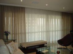 Cortina no trilho suisso em linho + 2a. cortina em voil liso