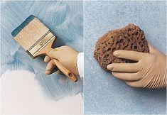 La técnica del esponjado se consigue dando golpecitos suaves y repetidos sobre la superficie de la pared hasta lograr el efecto deseado.