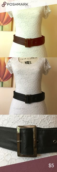 NWOT Faux Leather Belt Never used.  About 44 inches in total length.  Slight tarnish on buckle.  Mannequin (34-26-35) is wearing belt on last hole.  Price is firm unless bundled. Accessories Belts