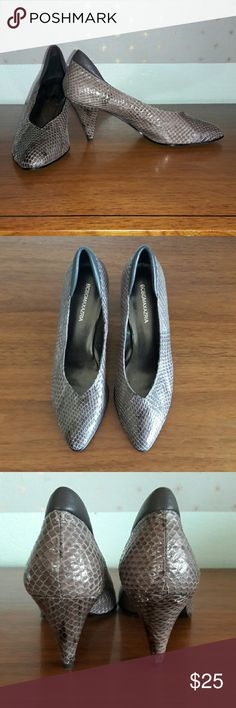 Vintage 90's BCBG Max Azria snakeskin heels Great pair of true vintage BCBG gray snakeskin pumps size 7. These were my mom's and they were never worn! Super cool pair of heels! Shoes Heels