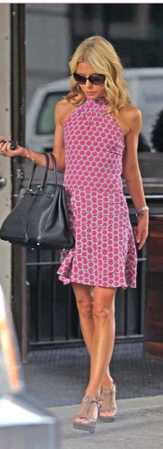 Pink and grey print large grey purse taupe heels